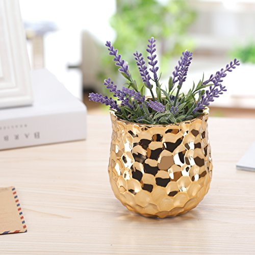4-Inch Ceramic Flower Plant Vase with Metallic Gold-tone Finish and Hammered Texture
