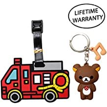 DIYJewelryDepot Red Fire Truck Luggage Tag for Travel Bags Backpacks + Rilakkuma Bear Keychain