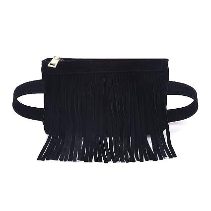 9e2b74f787 Amazon.com | Fashion Black Velvet Fringe Tassel Waist Fanny Pack Belt Bag  Travel Purse for women | Waist Packs