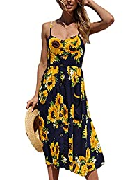 Women's Summer Floral Print Strap Casual Button Midi...