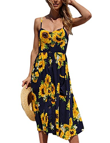 Halife Women's Sexy Spaghetti Strap Pockets Tropical Boho Floral Beach Dress L,Navy Blue (Dress Floral Tropical)