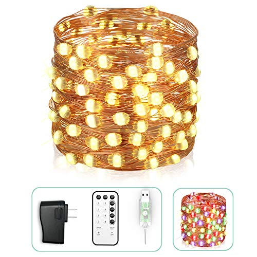 Asmader Super Big LED Fairy Lights, 33 ft 100 LEDs USB Plug-in Powered High Brightness Waterproof String Lights with Remote Timer Warm White and Multi Color Changing Copper Wire Twinkle Decor Lights