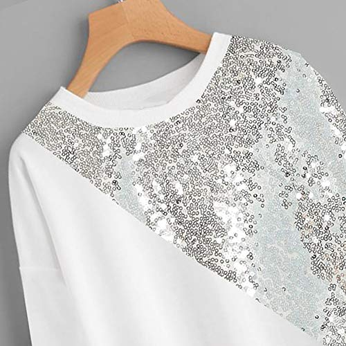 Vickyleb Women Shirts Blings Sequins Long Sleeve Pullover Color Block O-Neck Patchwork Tops Blouse Sweatshirt White by Vickyleb Womens Tops (Image #3)