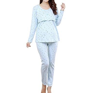 befc64f56f Samber Pijamas Mujer Embarazada Primavera Pijamas Puro Algodón para  Primavera Verano y Otoño Ropa de Dormitorio para Mujer de Maternidad   Amazon.es  Ropa y ...