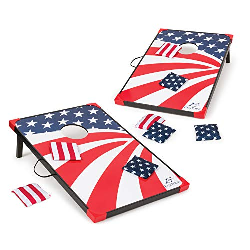 EastPoint Sports Cornhole Game Set Bean Bag Toss MDF - 2' W x 3' L - Built-in Storage, Convenient Carry Handles and 8 Premium Bean - Bean Sports Bag Theme