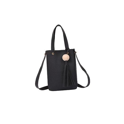 327c8761b5cd Leegor Fashion Square Vintage Handbag Small Mini Messenger Tassel Shoulder  Bags (Black)