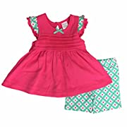 Infant Girls Pink & Mint Green Shirt & Floral Shorts Set Ruffle Outfit 12m