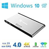 Yuntab B01 Wintel Windows 10 Mini Desktop Pc Computer Stick 2GB 64GB Atom z3735f Quad-core CPU Pocket Computer Xbmc Tv Player With Bluetooth 4.0 Built-in Battery 2.4GHz 5GHz Dual Band Wifi