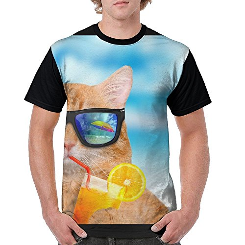 ZhiqianDF Mens Cat Wearing Sunglasses Relaxing In The Sea Leisure Hiking Black Tee XL Short Raglan - Sunglasses Orton Randy