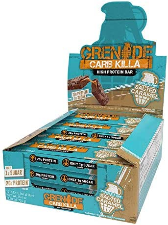 Grenade Carb Killa Protein Bar Chocolate Chip Salted Caramel, 12 Count