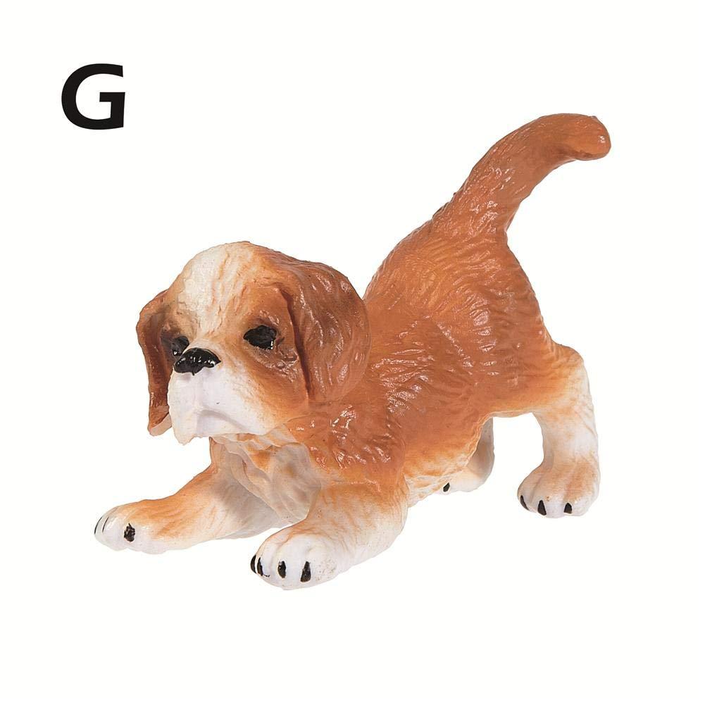 Arvin87Lyly Simulation Mini Dog Model,plastic Figurines Animals Miniature Pet Puppy Doll Toys,Lifelike Dog Model Educational Learning Nature Toys
