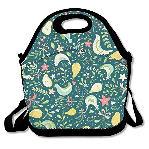Maozond8 Partridges and Pears Lunch Tote Bag Portable Picnic Lunch Box Food Container (Bag Shopping Partridge Family)