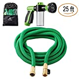 Sosoon Garden Hose, Expanding Extra Strength Stretch Material Water Hose with All Brass Connectors - Bonus 8 Way Spray Nozzle,Dish Soap Liquid Detergent Container, Carrying Bag (25 Feet)