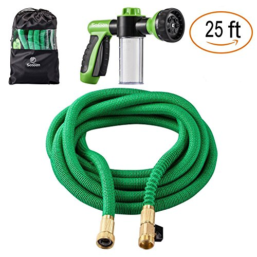 Sosoon Garden Hose, Expanding Extra Strength Stretch Material Water Hose with All Brass Connectors - Bonus 8 Way Spray Nozzle,Dish Soap Liquid Detergent Container, Carrying Bag (25 Feet) by Sosoon