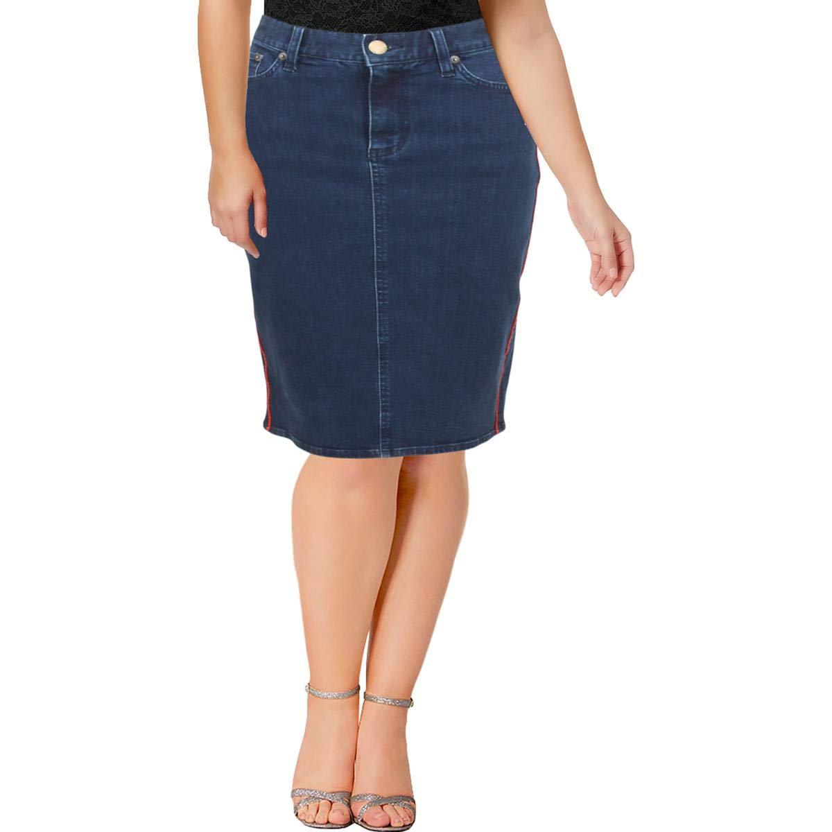 iso ale uusia valokuvia hyvä laatu Lauren Ralph Lauren Women's Piped Denim Pencil Skirt (Blue ...