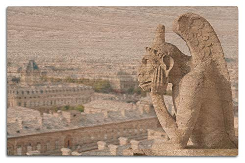 Lantern Press Gargoyle on Notre Dame, France Photography A-91332 (12x18 Wood Wall Sign, Wall Decor Ready to Hang)