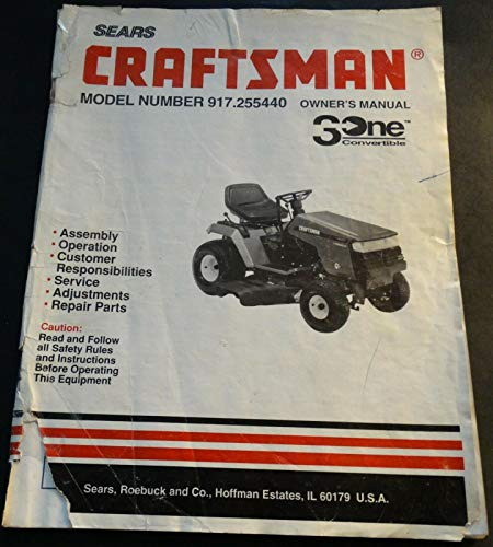 1993 SEARS CRAFTSMAN LAWN TRACTOR 917 255440 OWNER