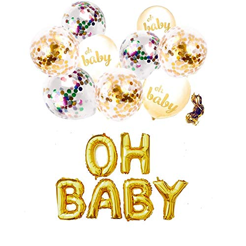 "Purejoy Gender Reveal Party Supplies Kit - Boy or Girl Baby Shower Decorations 16"" Foil Balloon & 9 pcs White Gold Confetti Balloons for Birthday Decorations and Pregnancy Announcement"