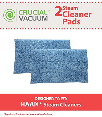 2 Crucial Vacuum Reusable Replacement Blue Steam Mop Ultra-Microfiber Cleansing Pads Attach Via Velcro To The Underside Fits HAAN® -  Big Central Store
