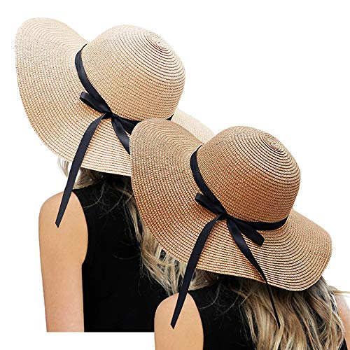 ZOORON Womens Floppy Summer Sun Beach Straw Hat, Foldable Wide Brim Hats with Bowknot UPF50 ()