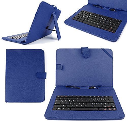 "DURAGADGET 10"" Faux Leather Protective Stand Case with Micro USB German Keyboard + Bonus Stylus Pen for NetTab Skynet II/Audi Android Tablet/Polaroid MIDHQ10 / Zoostorm PlayTab 3305-1030 10.1"""