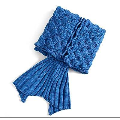 La Petite Sirène blanket louvre, queue de poisson climatisation knitting knitting couverture couverture pan anniversaire cadeaux idées cadeaux ,140cm*70cm, de couleur bleue