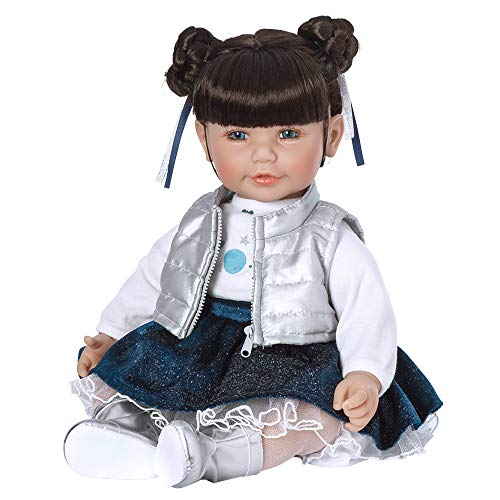 Adora ToddlerTime Doll Cosmic Girl 20 inch Toddler Baby Doll in CuddleMe Vinyl, Realistic Lifelike Weighted Cloth Body, Dark Brown Hair & Blue Eyes, Silver
