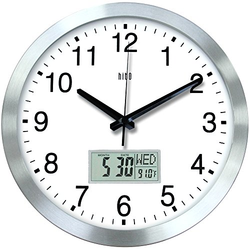 Bath Aluminum Wall Clock - hito 12 Inches Silent Non-Ticking Modern Wall Clock w/Aluminum Frame, Acrylic Front Cover, Date, Indoor Temperature, Week (Silver w/LCD)