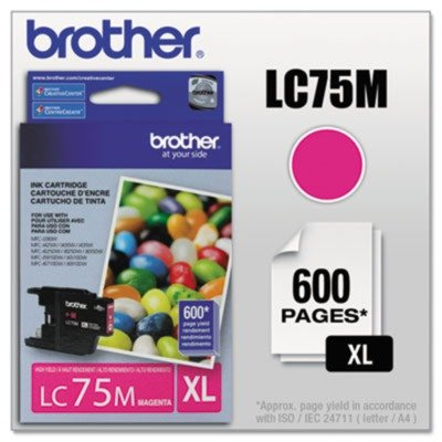 Brotheramp;reg; - LC75M (LC-75M) High-Yield Ink, 600 Page-Yield, Magenta - Sold As 1 Each - Reliable OEM (Brother Printer Ink Lc 75)
