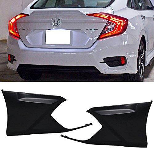 Rear Bumper Lip Fits 2016-2018 Honda Civic | HFP Style Black PP Rear Lip Finisher Under Chin Spoiler Underspoiler Splitter Valance Underbody Bumper Fascia Add On by IKON MOTORSPORTS | 2017 ()