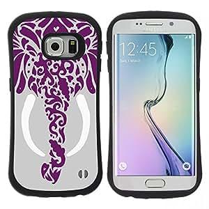 "Pulsar iFace Series Tpu silicona Carcasa Funda Case para Samsung Galaxy S6 EDGE , Dibujo Elefante Arte Colmillo Gray"""