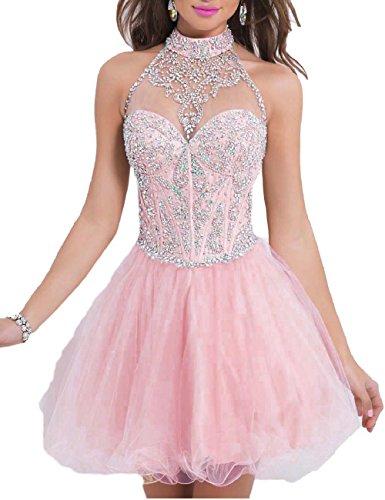 OYISHA Women's Short Beading Halter Homecoming Prom Dresses Backless Pink 2