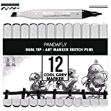 Grayscale Alcohol Art Markers - Pandafly Permanent Dual Tips Sketch Cool Grey Marker Pens for Drawing, Shading, Outlining, Illustrating and Rendering, Colorless Blender, Christmas Gift,12-Pack