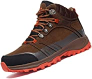 Shaire Men's Winter Ankle Snow Hiking Boots Warm Resistant Non Slip Fur Lined Waterproof Shoes Out