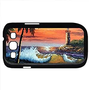 SUNSET BEACH (Beaches Series) Watercolor style - Case Cover For Samsung Galaxy S3 i9300 (Black)