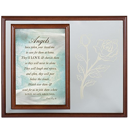 Cottage Garden Angels Have Taken Your Loved One Woodgrain Rope Trim Glass Plaque and Picture Frame