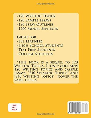 amazon 240 writing topics with sample essays like test prep