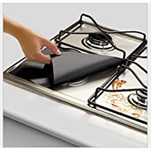 Reusable Black Gas Range Protector Liner Non Stick Gas Hob Stovetop Cooker Protectors 4 Packs by Lingstar