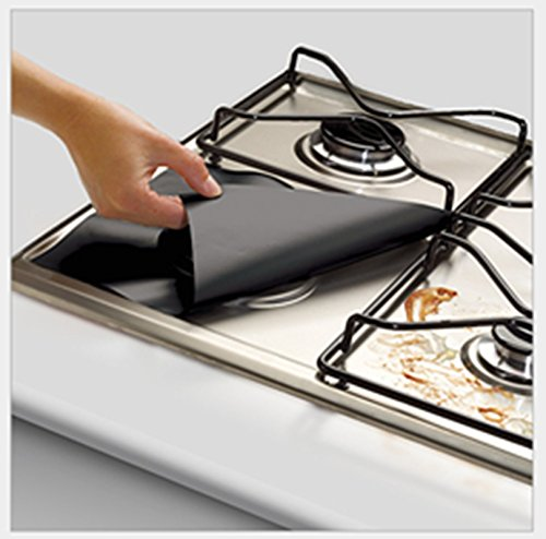 LingStar Reusable Black Gas Range Protector Liner Non Stick Gas Hob Stovetop Protectors