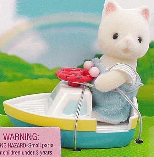 1 X Calico Critters - Baby Carry Case - Cat and Toy Boat (Calico Carry Case)
