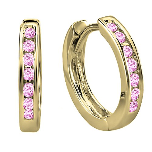 - Dazzlingrock Collection 14K Small Round Pink Sapphire Huggie Hoop Earrings, Yellow Gold