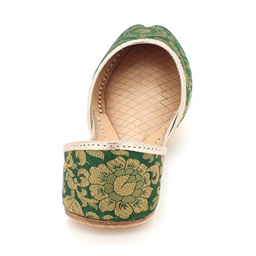 Jutti Zapatos Hecho Indio Mujer Señoras Mojari Tradicional Flat A Étnico Verde Zapatillas Cuero Tamaño Nupcial Khussa Mano Ponerse w1vZq1nI7