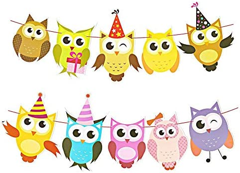 Owl Lovely Cartoon Themed Party Decorations Banner Birthday Party