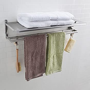 KES SUS 304 Stainless Steel Bathroom Shelves Towel Rack with Folding ...