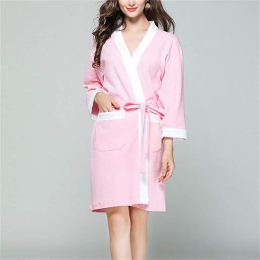 Mujeres Kimono Batas Algodón Ligero Bata Corta Tejido Albornoz Ropa de Dormir Suave con Cuello en V para baño,Albornoz de algodón Sauna SPA al Vapor A-4 S: Amazon.es: Hogar