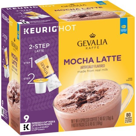 Gevalia Mocha Latte Espresso Coffee Cups & Froth Packets, 9 count (Pack Of 8)