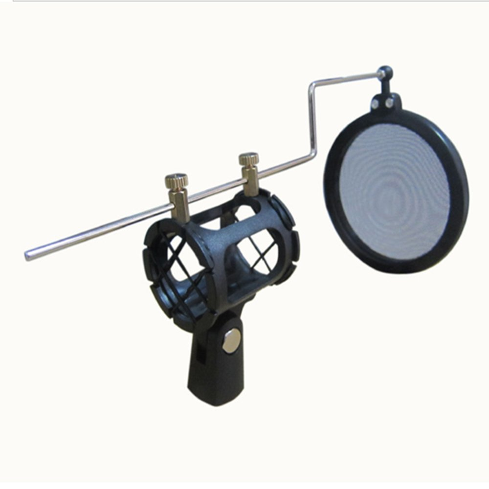 Kmise A6794 20 Black Dual Screen Blocker Condenser Radio Microphone Pop Filter