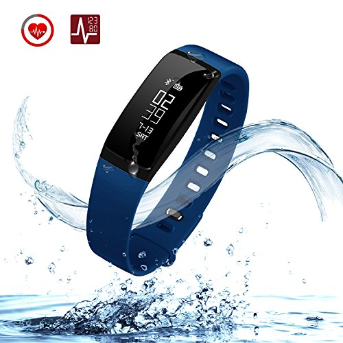 URBST Fitness Tracker,Wireless Smart Activity Trackers Wristband Blood Pressure Heart Rate Monitor Sport Bracelet Pedometer Watch-BLUE