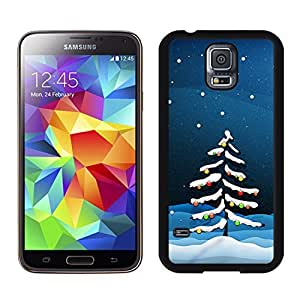 S5 Case,Snow Christmas Tree Colorful Lights TPU Black Case For Galaxy S5,Samsung Galaxy S5 I9600 Protective