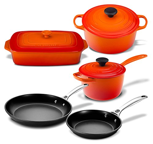 Le Creuset 8 Piece Multi-Purpose Enameled Cast Iron, Stoneware, and Toughened Non Stick Complete Cookware Set (Flame)